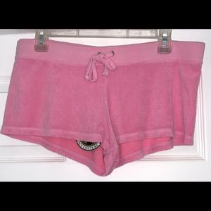 Juicy Couture Solid Pink Terry Basic Shorts Large